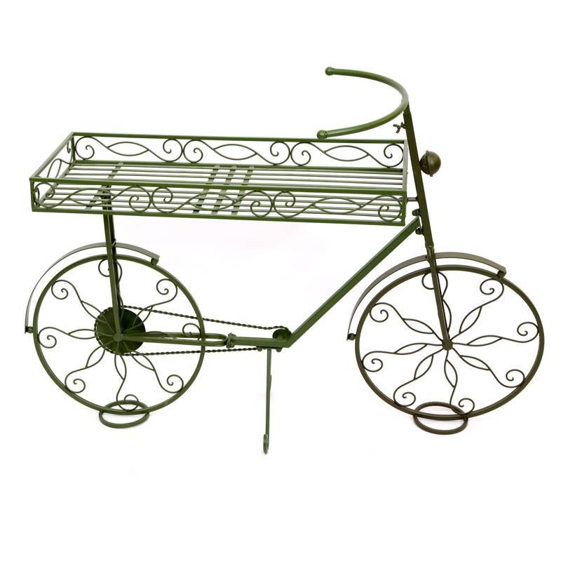 Bici 3 portatiestos de forja verde