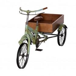 Bici carro forja madera flores