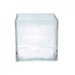 Jarrón cristal cubo.