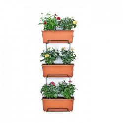 Soporte jardinera vertical 3 alturas con macetas