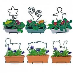 Soporte jardinera natura con maceta y figura