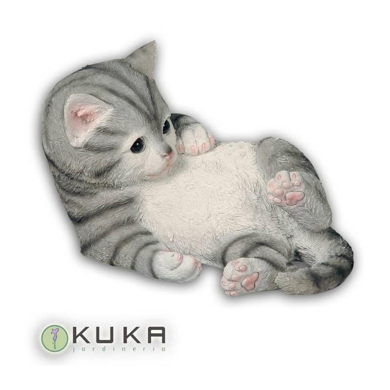 Figura gato gris a rayas negras