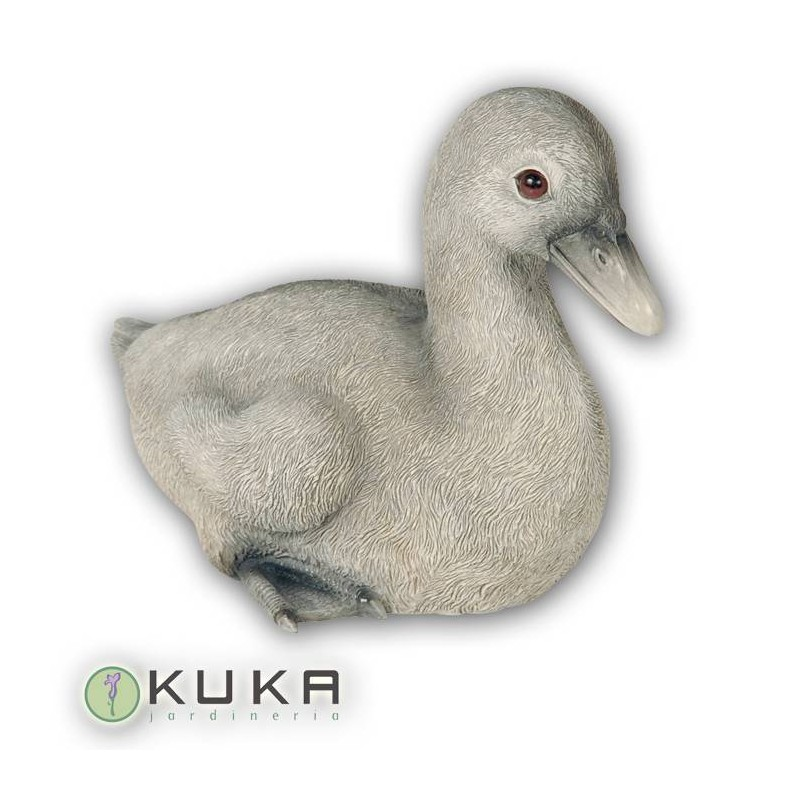 Figura pato gris pequeño sentado