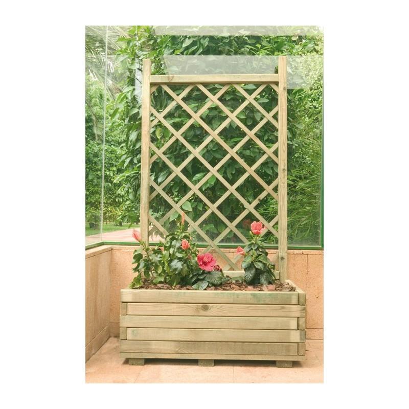 Macetas jardineras de madera jardinera rectangular con for Jardineras de madera grandes