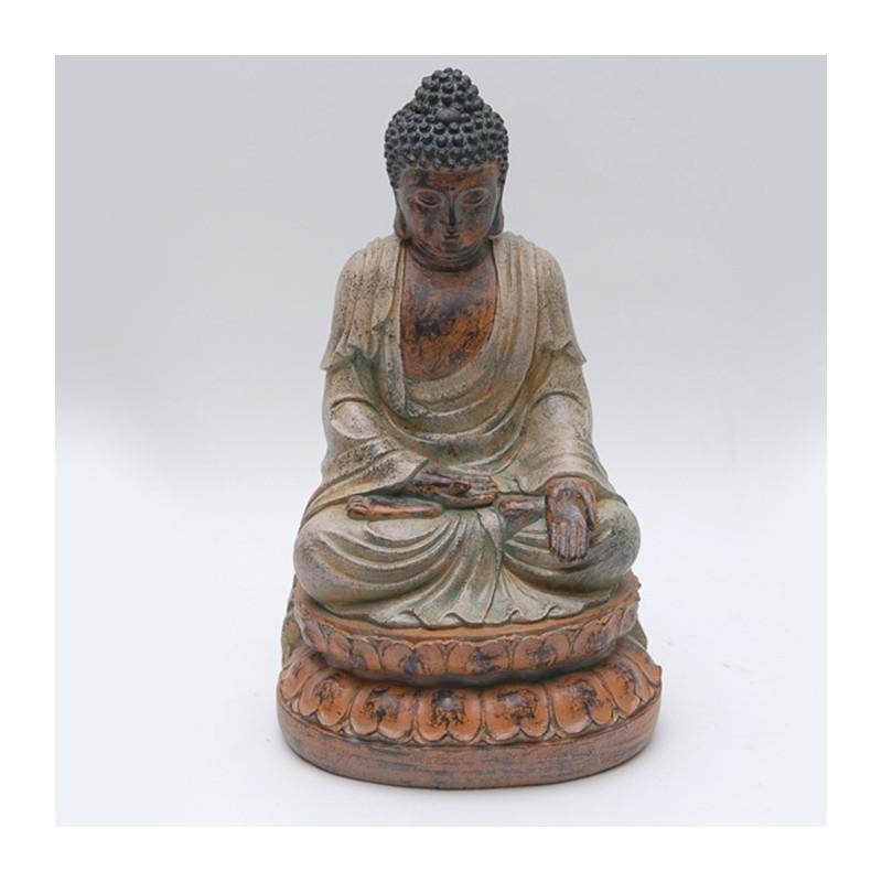 Figura poli buda sentado con peana