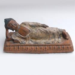 Figura poli buda tumbado con peana