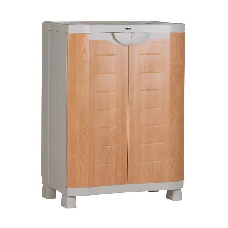 Medio armario haya 2 estantes metal