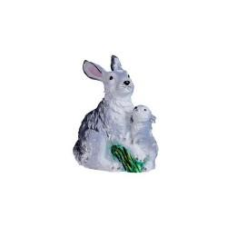 Figura coneja gris con cria